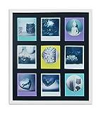 WANDStyle Rahmen für Polaroid-Bilder Serie A850 weiß gemasert Normalglas inkl. Passepartout schwarz für 9 Polaroids