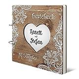 Hochzeit Gästebuch personalisiertes lasergeschnittenes Holzcover - Rustikal - 215 x 215 mm 144 Seiten Innenseiten Naturpapier