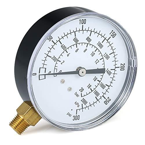 Fesjoy Mechanische Manometer 0~300 psi 0~2000kpa 0~20bar Gas Manometer Meter Pool Filter Aquarium Wasser Luftdruckprüfer1/4 Zoll NPT Bottom Mount -