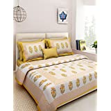 Suraaj Fashion Rajasthani Traditional Hand Block Printed 144 TC Cotton Double Bedsheet With 2 Pillow Covers - Yellow