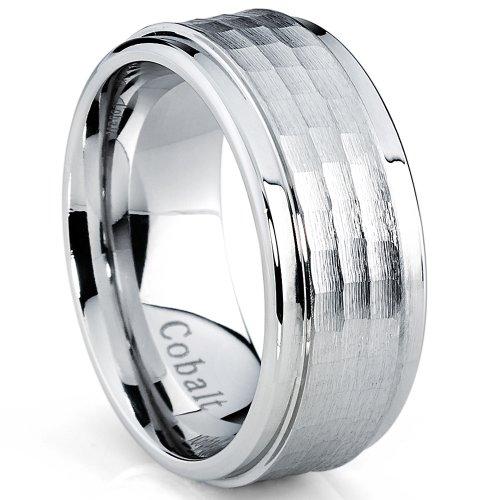 ultimate-metals-co-cobalt-chrome-mens-brushed-hammered-wedding-band-ring-comfort-fit-9mm-size-y