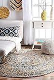 Jaipur Textil Hub Handgeflochtener Otelia Juteteppich aus Denim, rund, Denim, blau, 2 X 2 Feet Denim Jute Round Area Rug