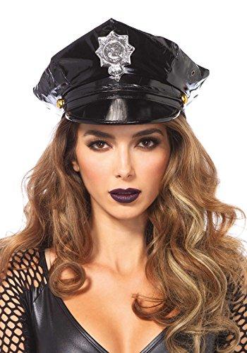 Frau Englisch Polizei Kostüm - Leg Avenue 3761 - Vinyl Polizeimütze - Einheitsgröße, schwarz