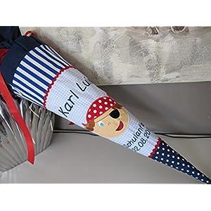 #42 Pirat blau-rot Schultüte Stoff + Papprohling + als Kissen verwendbar