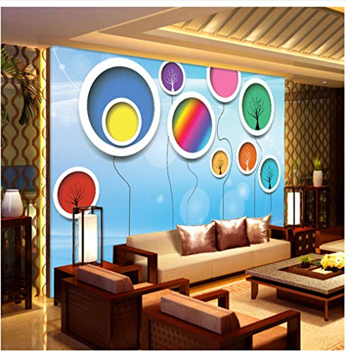 fache Bunte Ballon Kreis Fototapete Abstrakte Kunst Innendekoration Wandverkleidung Wohnzimmer Papel Wandbild 3D-200X140Cm ()