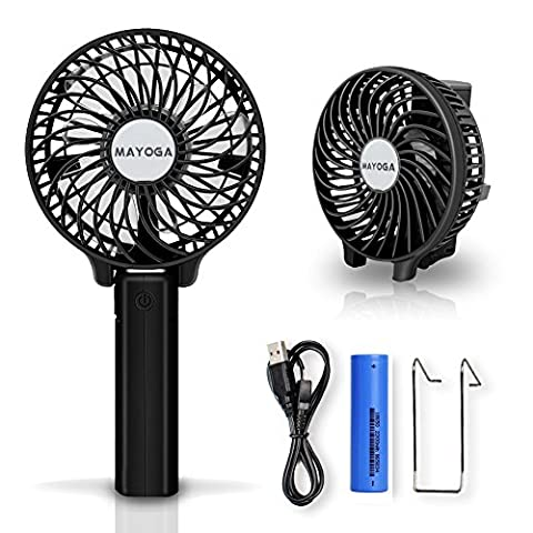 USB Handventilator,MAYOGA Leise Tragbarer Ventilator Aufladbare Tischventilator,Faltbar Mini Ventilatoren Lüfter für Reisen Zuhause Büro Draußen mit Batterie 3 Modi der Windgeschwindigkeiten(Schwarz)