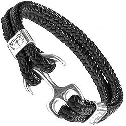 Tom Miller® Bracelet Ancre couleur argent Cuir de haute qualité Cadeau pour Hommes (19)