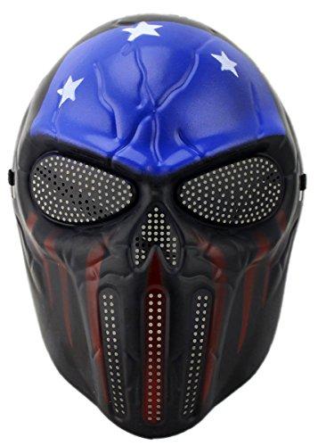 GYD Softair Maske Totenkopf Schädel Vollschutzmaske Star Fire (Blau/Schwarz)