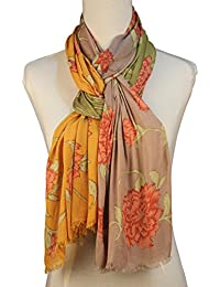 Vozaf Women's Viscose Stoles & Scarves - Green And Yellow With Floral Print
