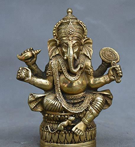 Foxiang antiquariato d'epoca artigianato rame puro bronzo all'ingrosso collezione in ottone a quattro bracci elefante ornamenti dio 12 cm * 8 cm