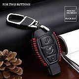 ZYYSK Für Leder Autoschlüssel Fall Abdeckung Fob Schlüsselanhänger Kette Für Mercedes Benz W203 W210 W211 W124 W202 W204 Amg Glk 300 E260L,Black RED 2 Buttons