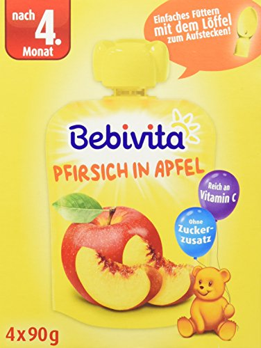 Bebivita Baby Quetschbeutel, Pfirsich in Apfel, 4er Pack (4 x 90 g)