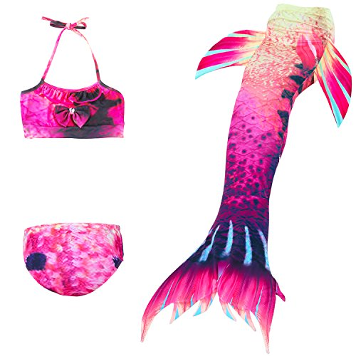 Das beste Mädchen Meerjungfrauen Bikini Kostüm Meerjungfrau Schwimmanzug Badeanzüge Tankini (150, 22)