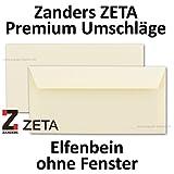 50x PREMIUM Umschläge DIN LANG // Zanders ZETA // Elfenbein - Matt - Haftklebung - ohne Fenster