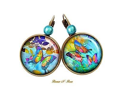 Boucles d'oreilles * Papillon magique * cabochon bleu bronze perles verre dormeuses