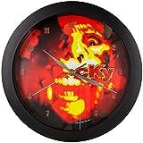 Schwarze Analog-Uhr, Motiv: Flame