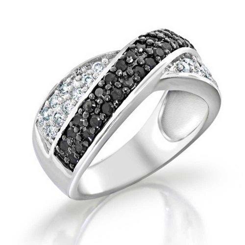 Bling Jewelry Zwei Ton Schwarz Und Weiß Pave Zirkonia Cz Criss-Cross X-Band Ring Für Damen Für Freundin 925 Sterling Silber - Criss Frauen Cross Ring