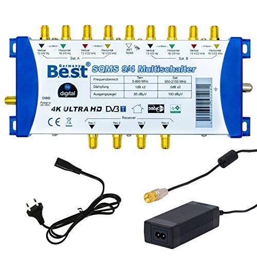 Multischalter pmse 9/4 HB-DIGITAL 2x SAT bis 4 x Teilnehmer / Receiver für Full HDTV 3D 4K UHD mit Netzteil