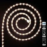 DECORACION DE NAVIDAD - Guirnalda tubo luminoso x 18 metros Bombillas LED Blanco cálido y 8 juegos de lueces