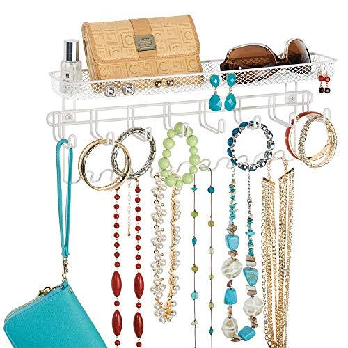 mDesign Schmuck Organizer - schicke Wandgarderobe mit Ablage für Ketten, Ohrringe, Brillen, Kosmetik, Handys und weitere Accessoires - geräumiger Wandorganizer -- weiß -