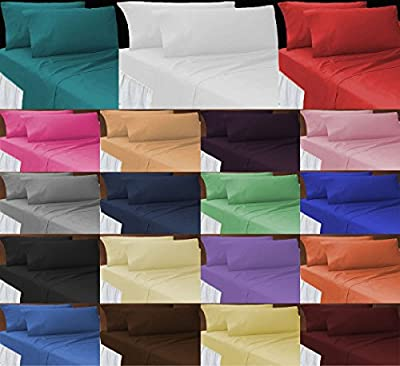 JUBILEEHOMEWARE Polycotton Plain Dyed Flat BED Sheet Single Double King Super King Sizes & Pillow Covers/cases