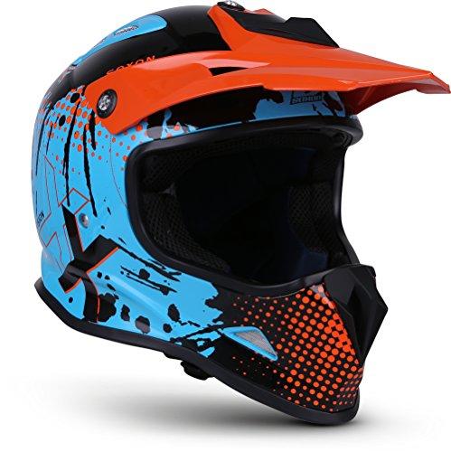 "Soxon® SKC-33 \""Fusion Orange\"" · Kinder-Cross-Helm · Motorrad-Helm MX Cross-Helm MTB BMX Downhill · ECE Schnellverschluss SlimShell Tasche S (53-54cm)"