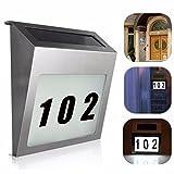 Solar Número de Casa Lámpara de Acero Inoxidable LED Luz con números letras Sensor de luz, plata, 2G11
