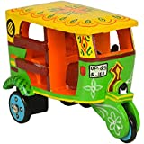 Handmade Colorful Push And Pull Toys Wooden Auto Rickshaw For Kids And Home Decoration Height 3.5 Inch By Fine Craft India