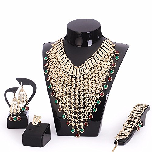 Wedding Accessories Gold Plated Chain tassels Long Jewelry Sets Necklace Earrings Bracelet Ring