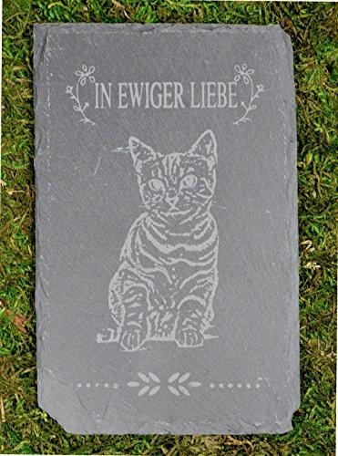 Tiergrabstein Grabstein Trauerstein Tiergrabstein Gedenkstein Naturstein Schiefer Katze