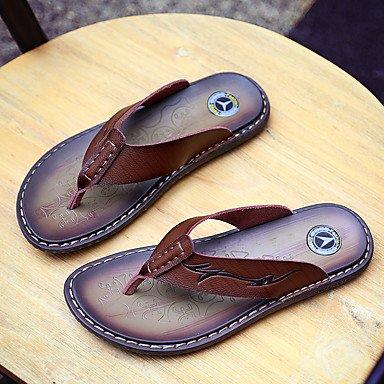 Slippers & amp da uomo;Sandali estate pelle bovina casuale chiaro Marrone Marrone sandali US7 / EU39 / UK6 / CN39