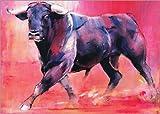 Poster 70 x 50 cm: Trabender Stier von Mark Adlington/Bridgeman Images - hochwertiger Kunstdruck, neues Kunstposter