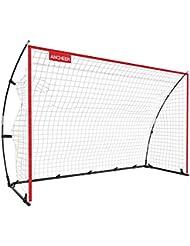 Ancheer Fußballtor, Tragbare und Faltbare Fußball Tor mit einfache Struktur, für Kinder und Erwachsene, Rot, 3 Größe