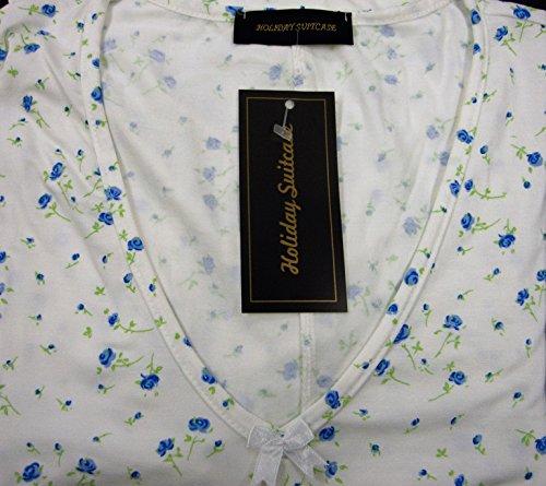 Vacances valise dames grande taille bouton de rose doux long longueur robe de nuit 16 to 34 UK Bleu