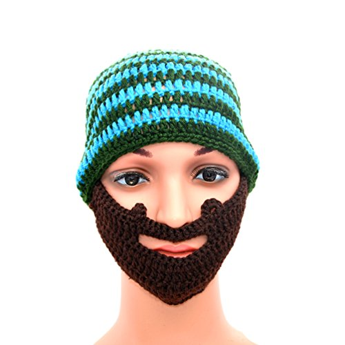 Green Knit Beanie Cap (Unisex Knit Hat Beanie Cap Keep Face Warm in Winter with Detachable Knitted Beard Green and blue stripes)