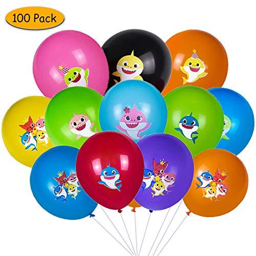 Palloncini di squalo, yisscen baby cute shark decorazioni forniture palloncini in lattice da 12 pollici 100 pezzi ideale per bambini festa di compleanno/festa a tema sull'oceano (multicolore)