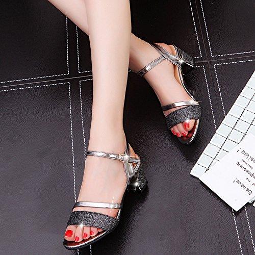 Lgk & fa sandali da donna estate sandalo tacco medio diamante estate tacco e scarpe da donna Black