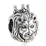 Ciondolo Leone re della giungla animale vero argento Sterling 925per braccialetti Pandora