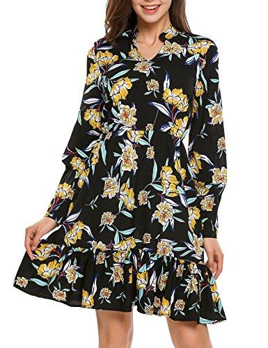 Beyove Damen Blumen Vintage Kleid Langarm V-Ausschnitt Elegant  Skaterkleider Festlich Knielang Rüschen Floral Cocktailkleid Abendkleid  Rockabilly Kleid c5e1bc4b4e