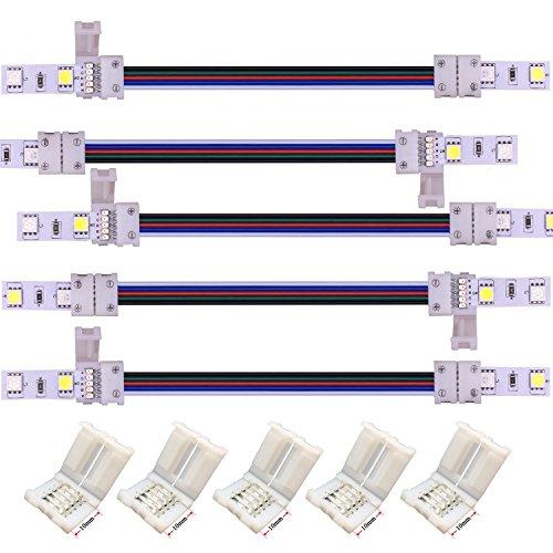 Kabenjee 5 x 5 polig 10mm Breit RGBWW Bänder Verlängerungsstecker Jumper,17cm Lange LED Stripe Verbinder Verteiler Adapter Eckverbinder,Lötfrei Verbindungskabel Anschlusskabel Zwischen RGBW-Band (Stripe Jumper)