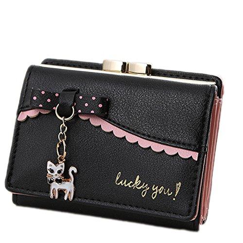 LUI SUI Frauen PU Leder Brieftasche Nette Katze Tier Kartenhalter Organizer Kleine Geldbörse Quaste Reißverschluss für Damen und Mädchen -