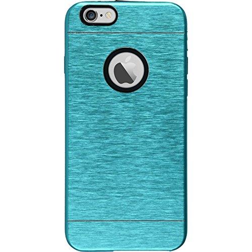 PhoneNatic Case für Apple iPhone 6 Plus / 6s Plus Hülle silber Metallic Hard-case für iPhone 6 Plus / 6s Plus + 2 Schutzfolien Blau