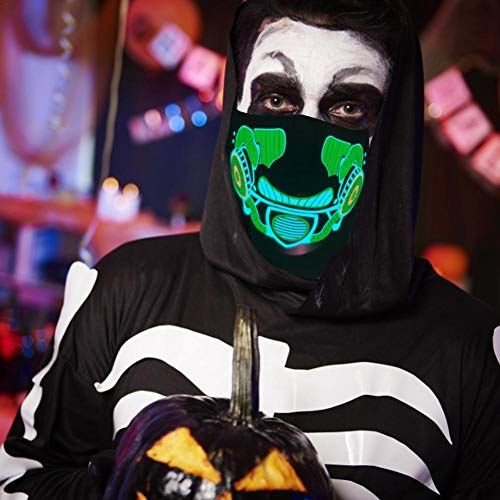 Halloween Kostüm Maske LED Leuchtmaske für Festival Cosplay Maskerade Partys Karneval Geschenke Halloween Bar Nachtclub EL Kaltlicht Gruselige Maske, Universal Fit