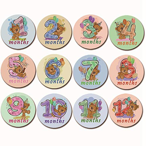 ZOYLINK 12PCS Baby Monat Aufkleber Kreativer Selbstklebender Meilenstein Aufkleber Onesie Aufkleber Monat Onesies