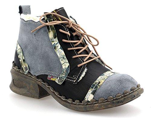 TMA Damen Winter Boots Stiefeletten Comfort Warmfutter 5355 Schwarz/Grau