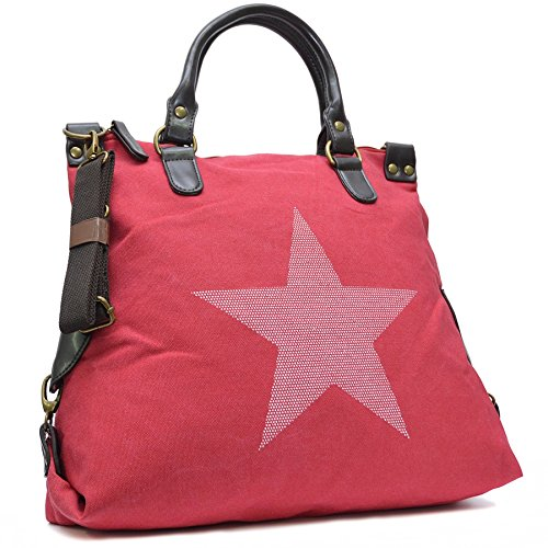 Vain Secrets Sternen Shopper Damen Handtasche mit Schulterriemen Rot Weiß Stern