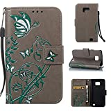 "Coque Etui pour Samsung I9100, Galaxy S2 Coque Dragonne Portefeuille PU Cuir Etui, Samsung Galaxy S2 Coque de Protection en Cuir Folio Housse, Samsung Galaxy S2 SII GT-I9100 Leather Case Wallet Flip Protective Cover Protector, Cozy hut Etui de Protection PU Cuir Portefeuille Relief Papillon Narcisses Coque Housse Swag Case Cover Coquille Couverture avec Fonction Stand et Fentes de Carte de Crédit pour Samsung Galaxy S2 SII GT-I9100 4.3"" Pouces - gris"