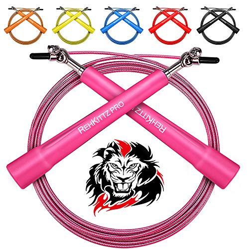 AMZOON Springseil Fitness Springseile Skipping Rope Crossfit Erwachsene Sprungseil Tennis Sprungseil (Pink)