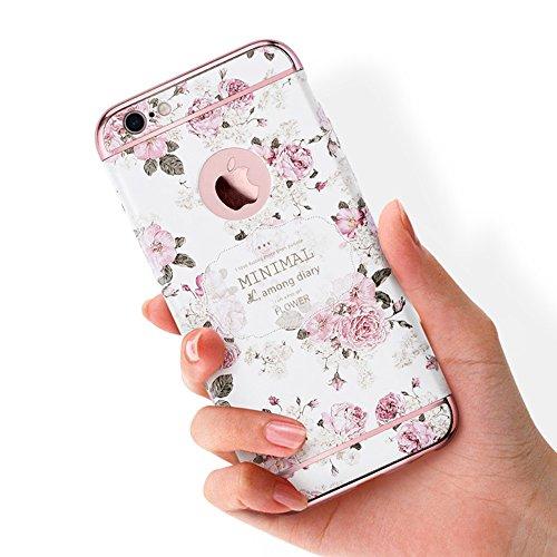 "Apple iphone Schutzhülle Kreativität handlich abziehbar case 3D Reliefmalerei Slim PC Hard Back Case Cover (iPhone 6 Plus/6s Plus 5,5"", Blatt) Blume 1"