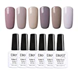 Elite99 Lot de 6pcs Vernis à Ongles Semi Permanent Couleur Nude Vernis gel UV LED Soak off Base Coat Top Coat Manucure pour Ongles